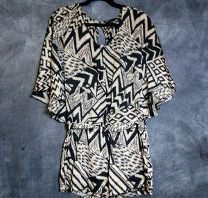 GUESS | Black Abstract Print Kimono Romper Size M